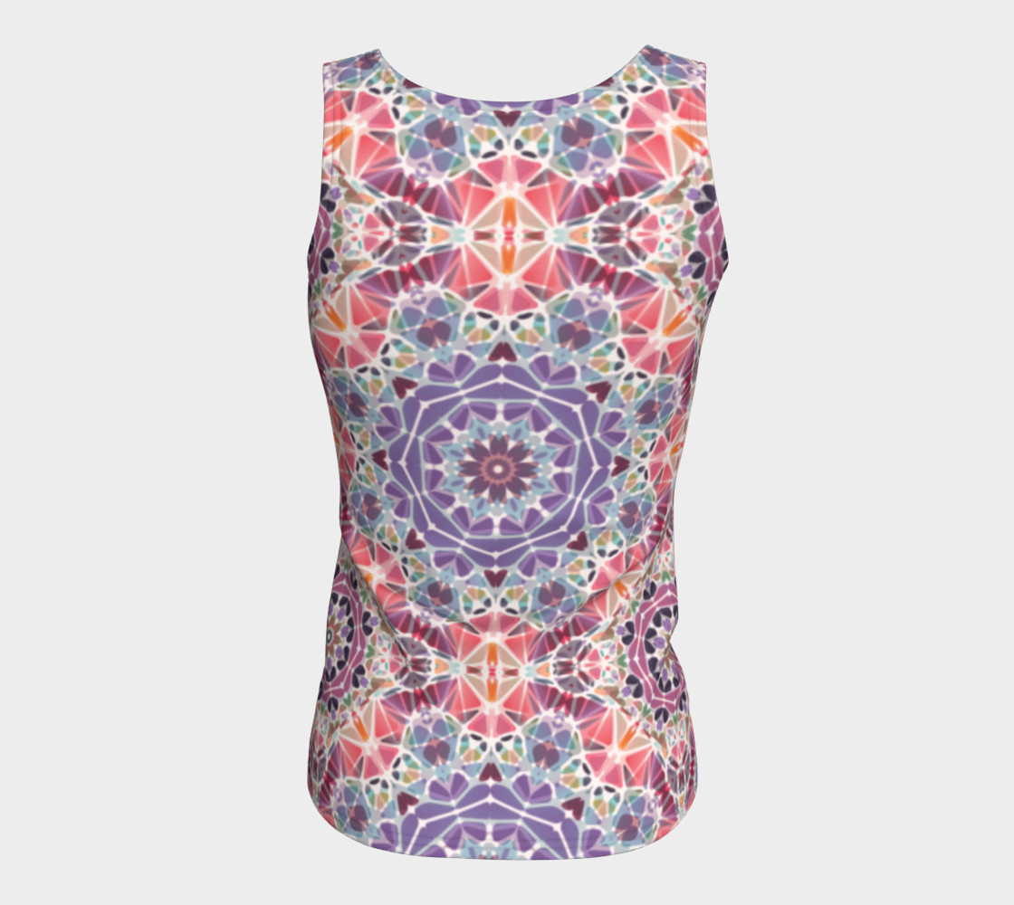 Purple and Pink Kaleidoscope Fitted Tank Top preview #6