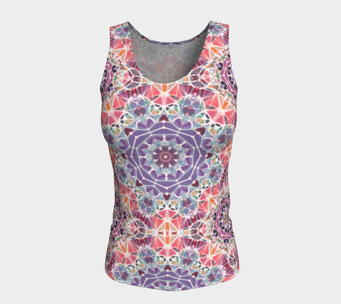Purple and Pink Kaleidoscope Fitted Tank Top preview #5