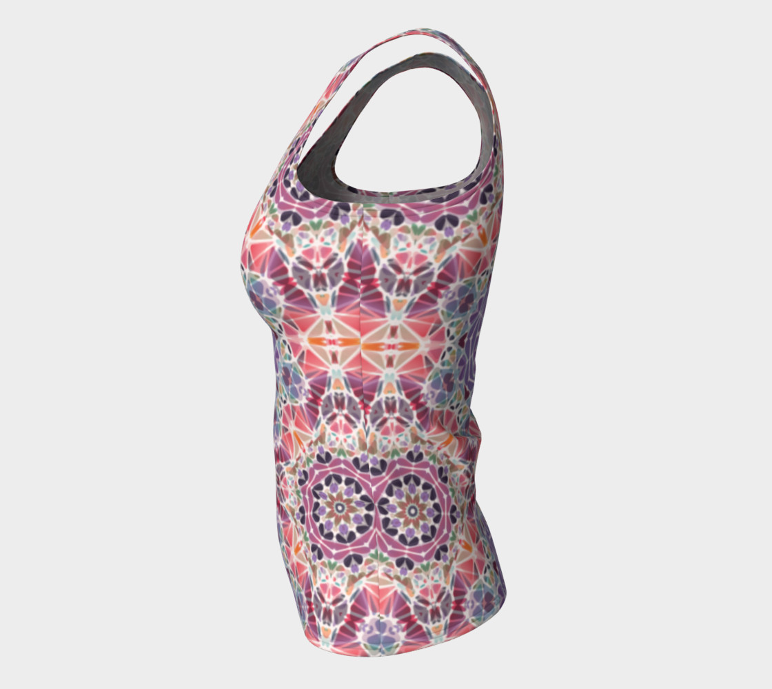 Purple and Pink Kaleidoscope Fitted Tank Top preview #7