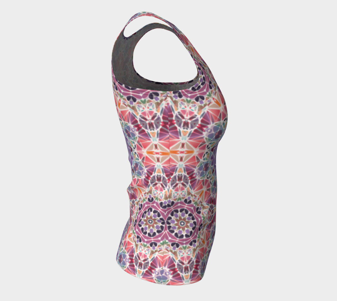 Purple and Pink Kaleidoscope Fitted Tank Top preview #8