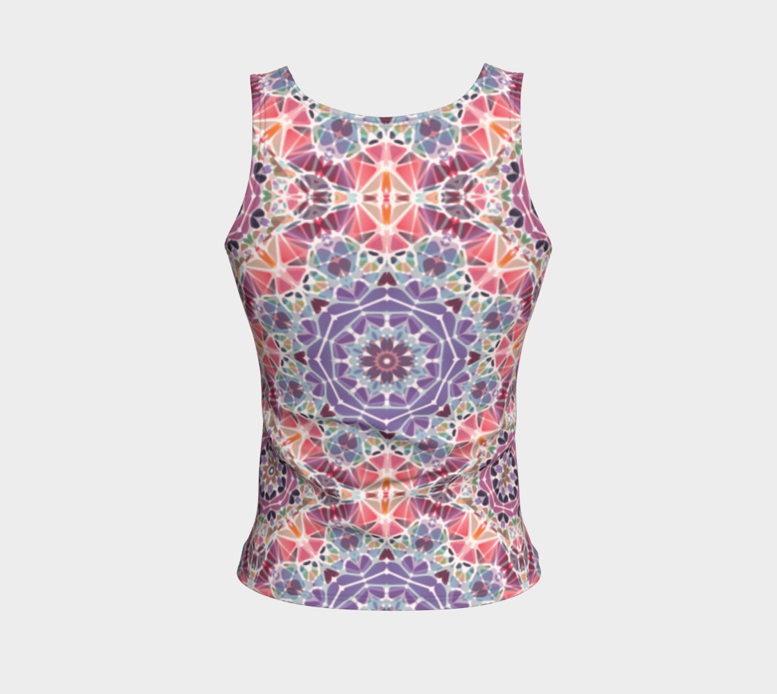 Purple and Pink Kaleidoscope Fitted Tank Top preview #2