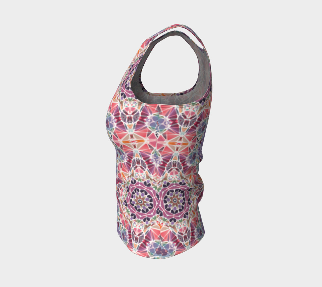 Purple and Pink Kaleidoscope Fitted Tank Top preview #3