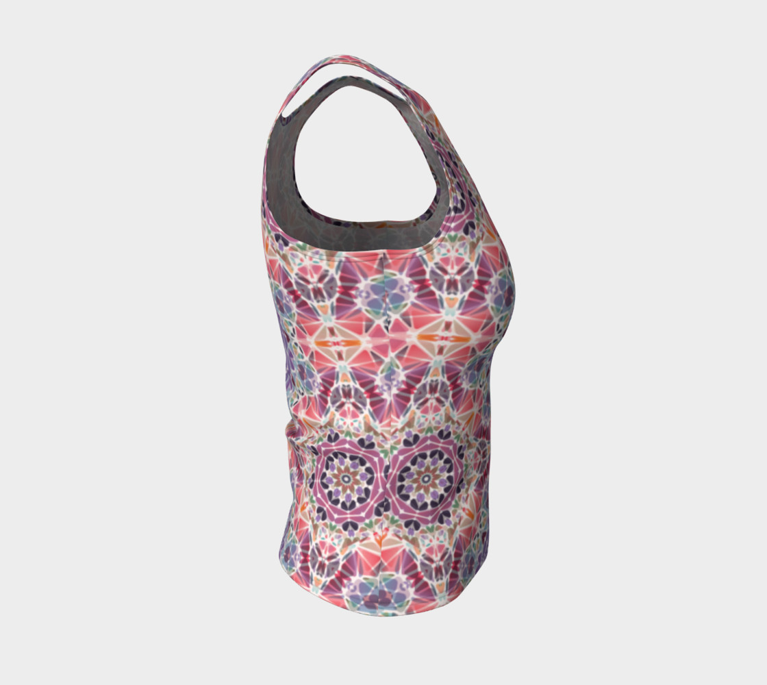 Purple and Pink Kaleidoscope Fitted Tank Top preview #4