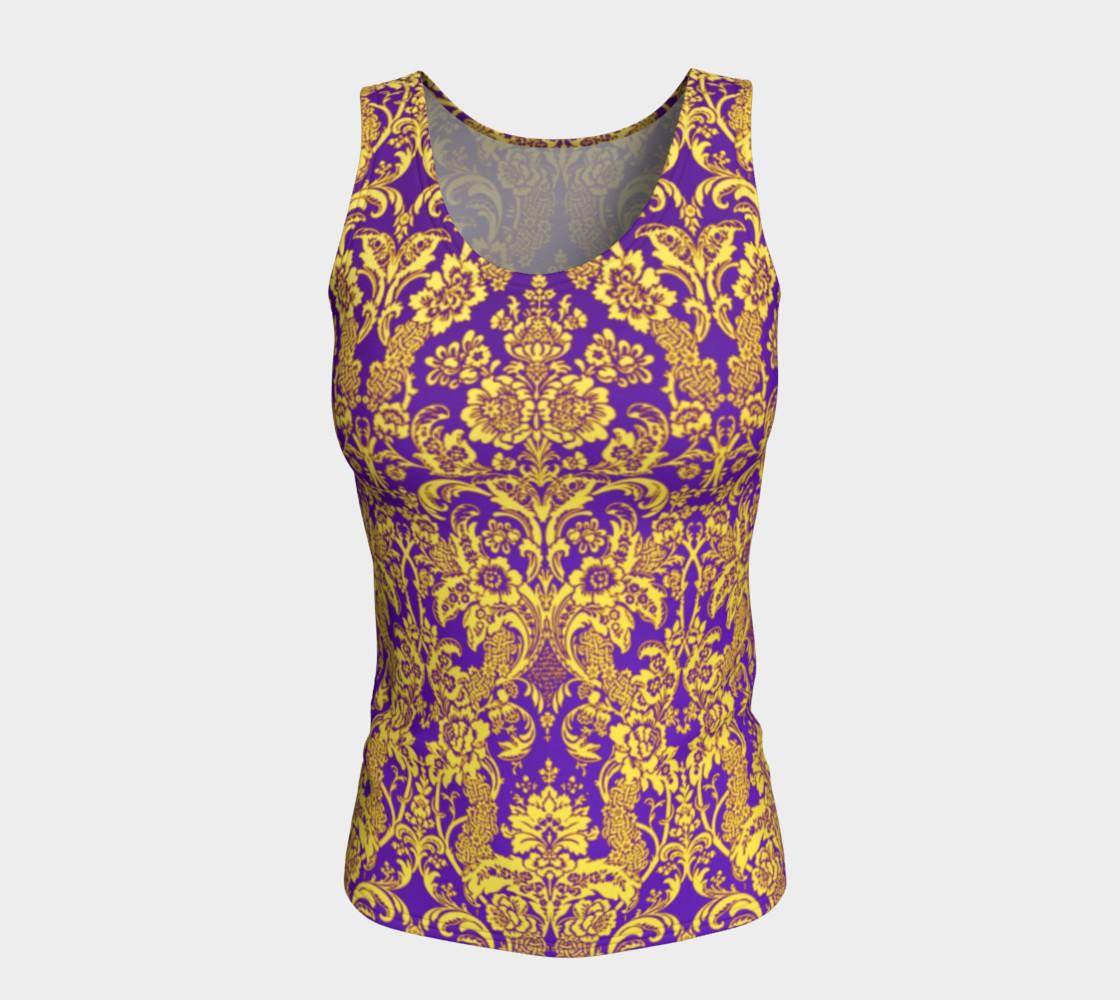 Aperçu de damask in purple and golden #5