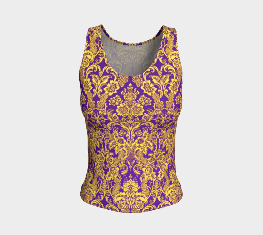 Aperçu de damask in purple and golden #1