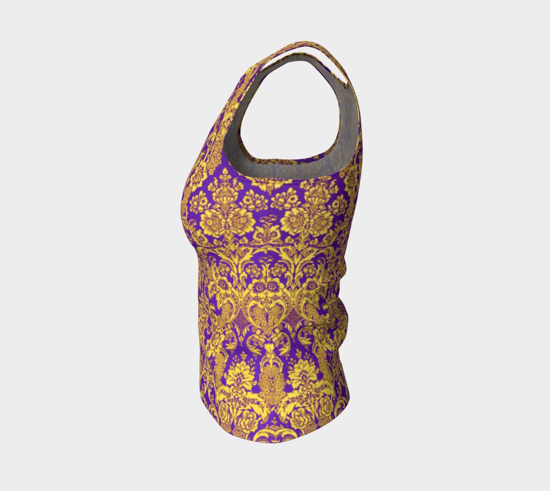 Aperçu de damask in purple and golden #3