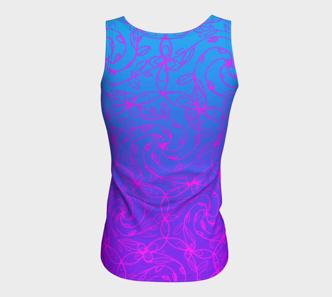 Magenta Blue Ombre, Psychedelic Spiral Vines, Yoga Raver Festival Tank Top Miniature #7