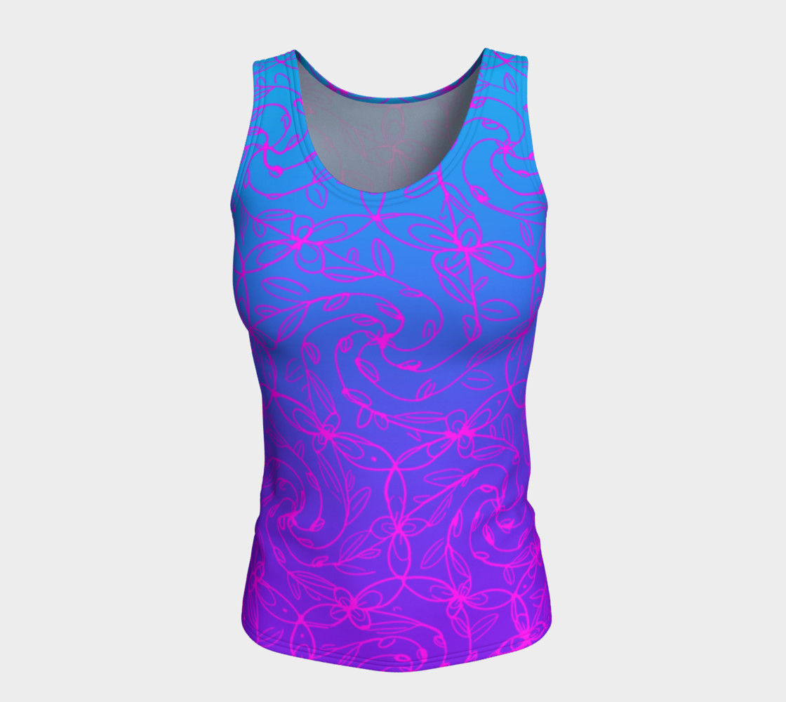 Magenta Blue Ombre, Psychedelic Spiral Vines, Yoga Raver Festival Tank Top Miniature #6