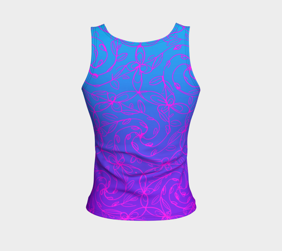 Magenta Blue Ombre, Psychedelic Spiral Vines, Yoga Raver Festival Tank Top Miniature #3
