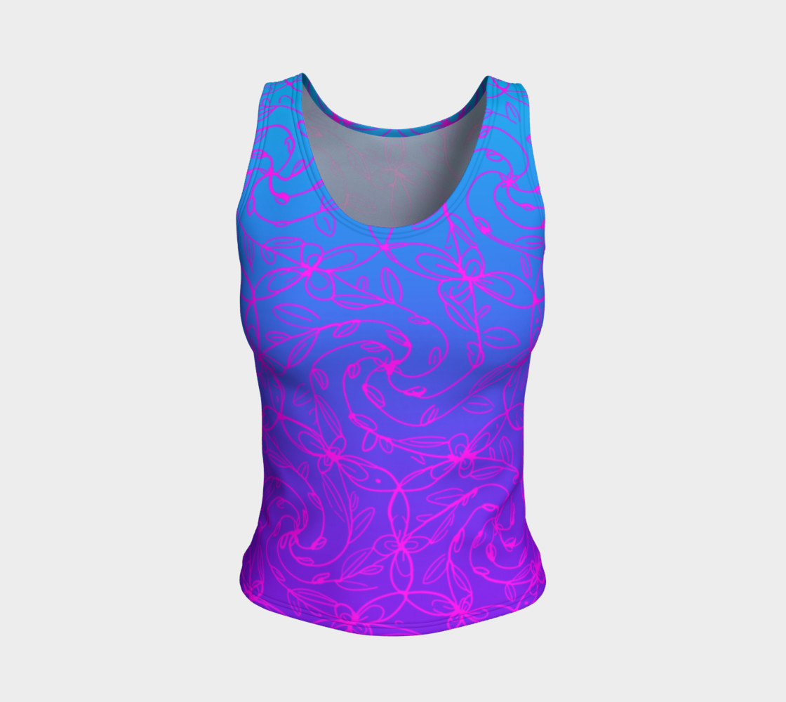 Magenta Blue Ombre, Psychedelic Spiral Vines, Yoga Raver Festival Tank Top Miniature #2