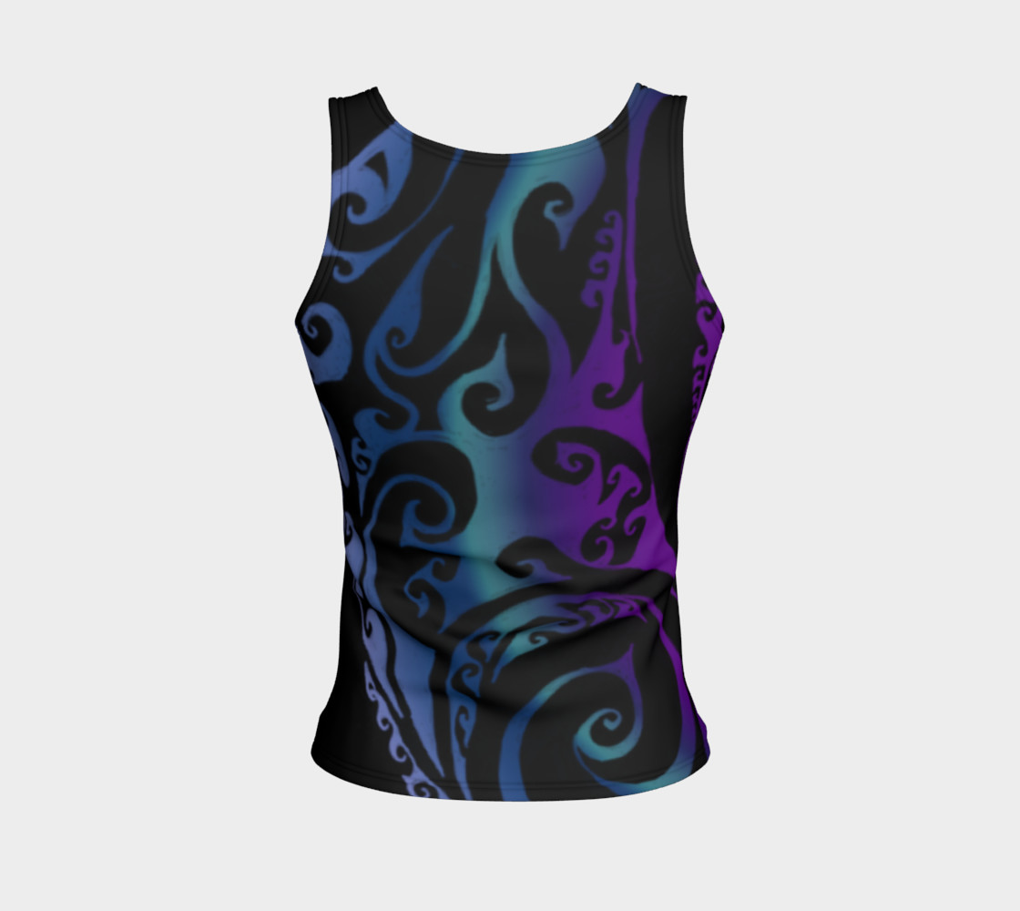 Aperçu de Ice Valkyrie Celtic Spiral Purple Blue Ombre Tank Top #2