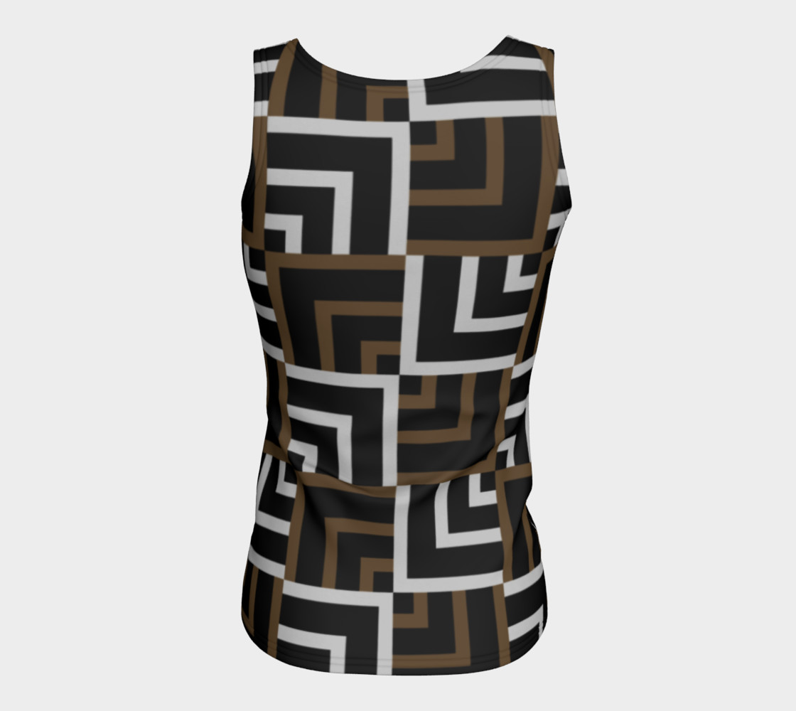 Brown and Silver Squares Fitted Tank Top preview #6