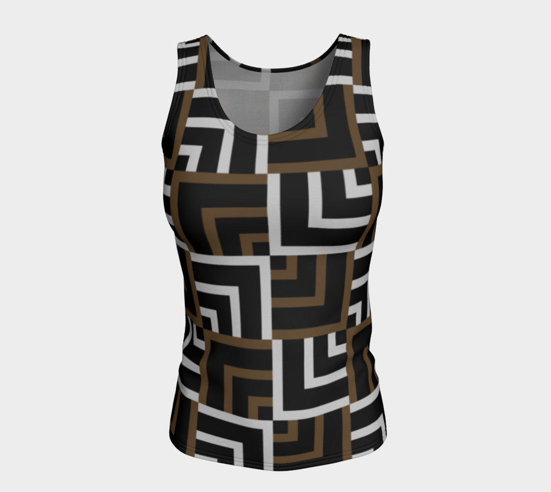 Brown and Silver Squares Fitted Tank Top preview #5