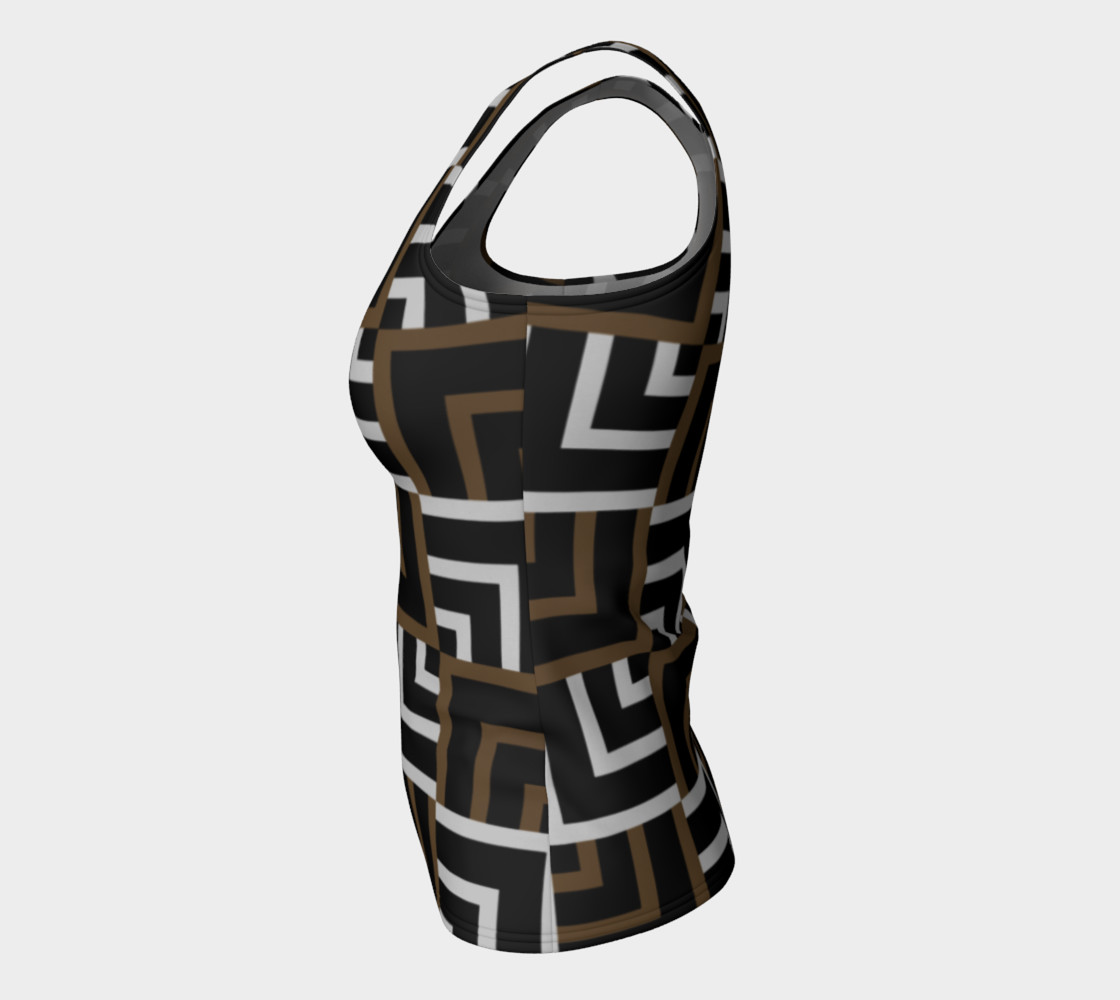 Brown and Silver Squares Fitted Tank Top preview #7