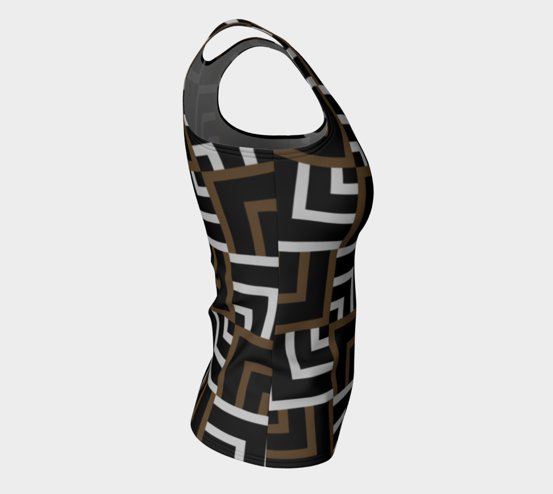 Brown and Silver Squares Fitted Tank Top preview #8