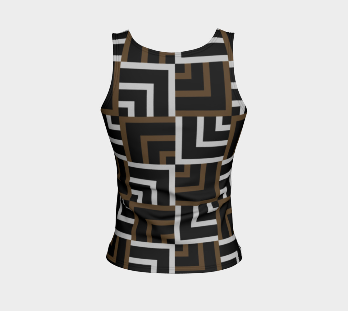 Brown and Silver Squares Fitted Tank Top preview #2