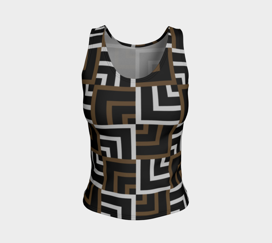 Brown and Silver Squares Fitted Tank Top preview #1