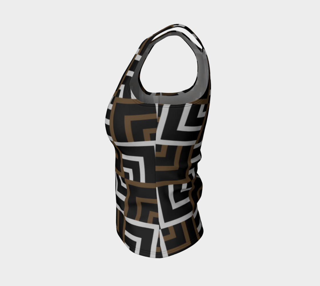 Brown and Silver Squares Fitted Tank Top preview #3