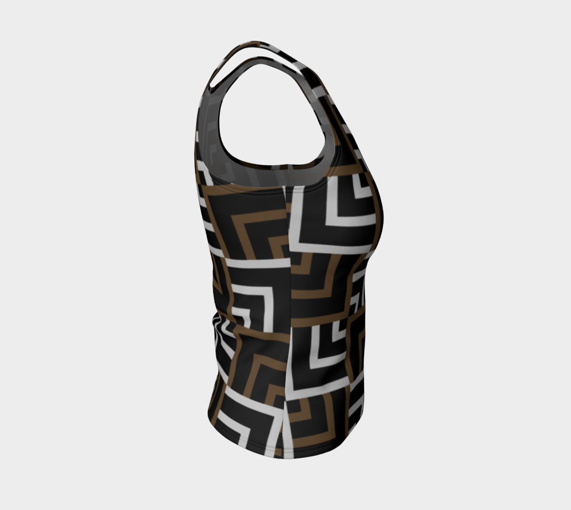 Brown and Silver Squares Fitted Tank Top preview #4