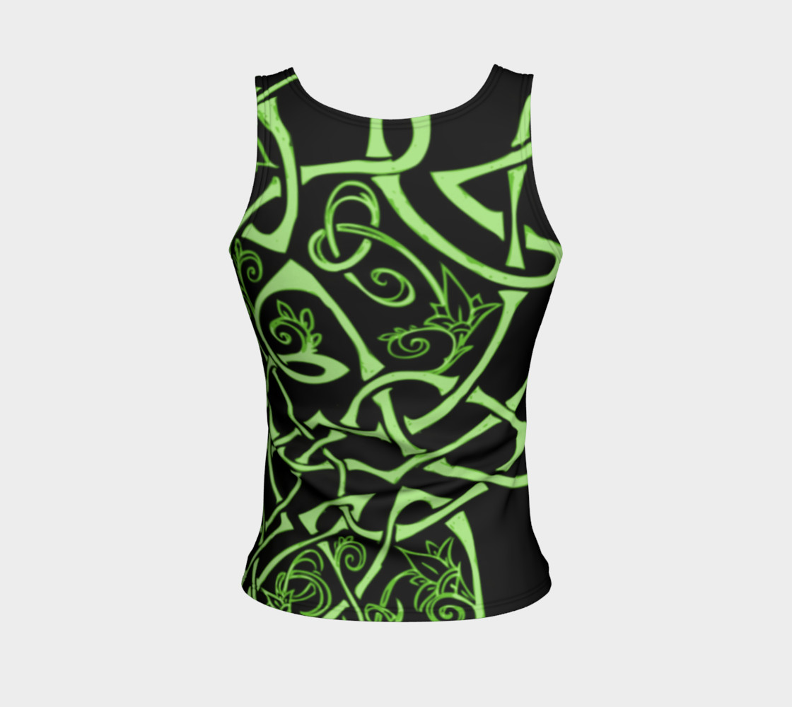Aperçu de Wild Celtic Branches, Asymmetrical, Bright Green, Celtic Knot, Fitted Tank Top #2
