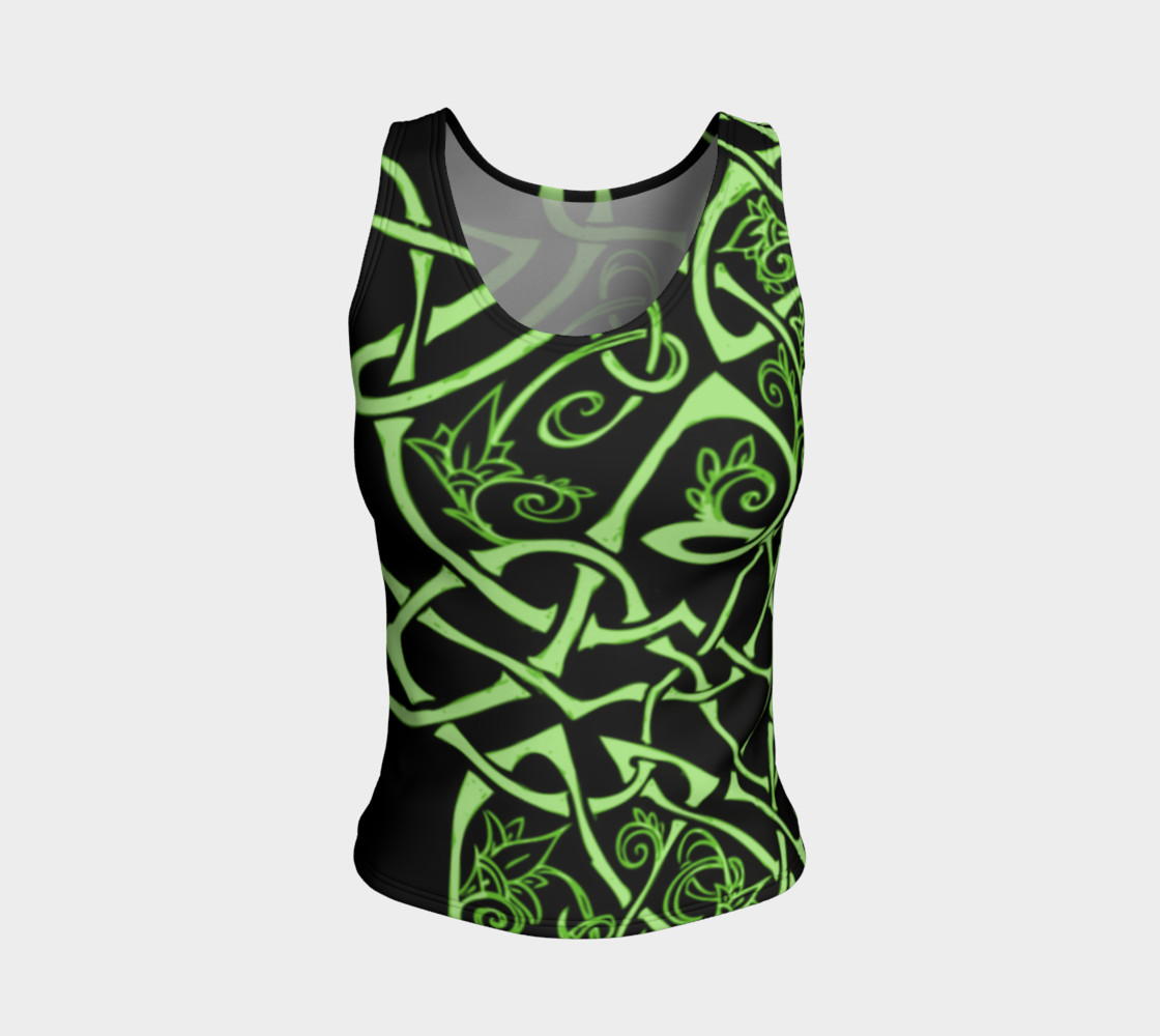 Aperçu de Wild Celtic Branches, Asymmetrical, Bright Green, Celtic Knot, Fitted Tank Top #1