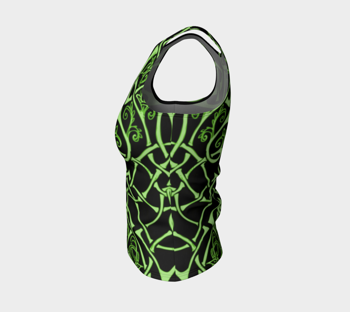 Aperçu de Wild Celtic Branches, Asymmetrical, Bright Green, Celtic Knot, Fitted Tank Top #3