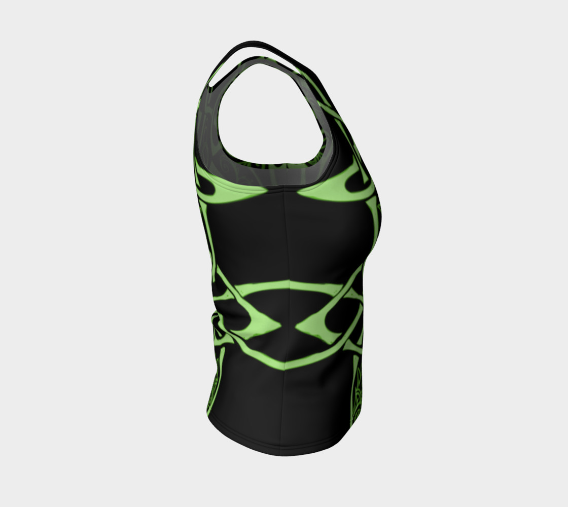 Aperçu de Wild Celtic Branches, Asymmetrical, Bright Green, Celtic Knot, Fitted Tank Top #4