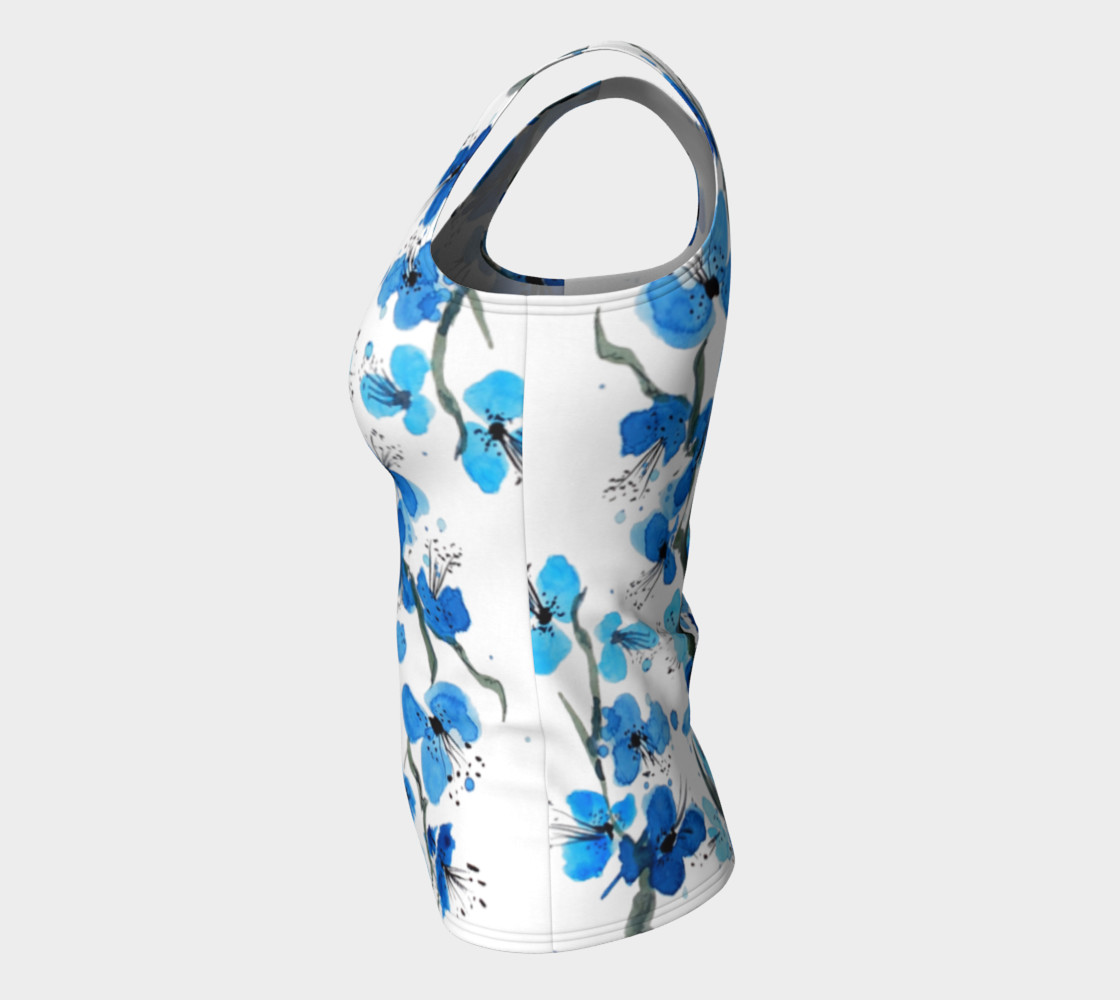 Blue Japanese Blossoms Fitted Tank Top preview #7