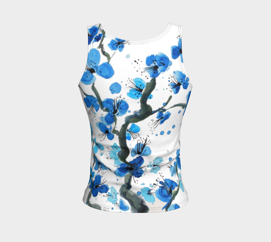 Blue Japanese Blossoms Fitted Tank Top preview #2
