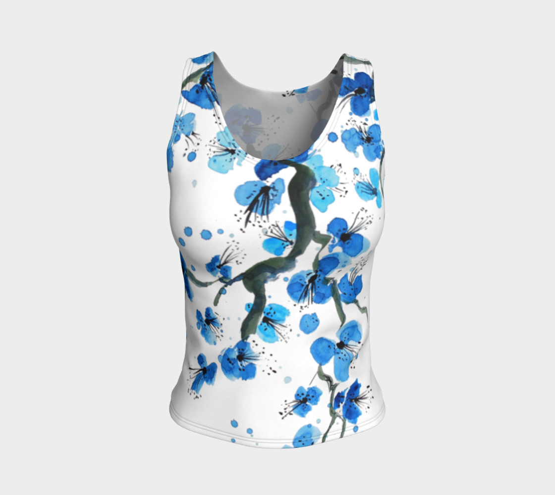 Blue Japanese Blossoms Fitted Tank Top preview #1