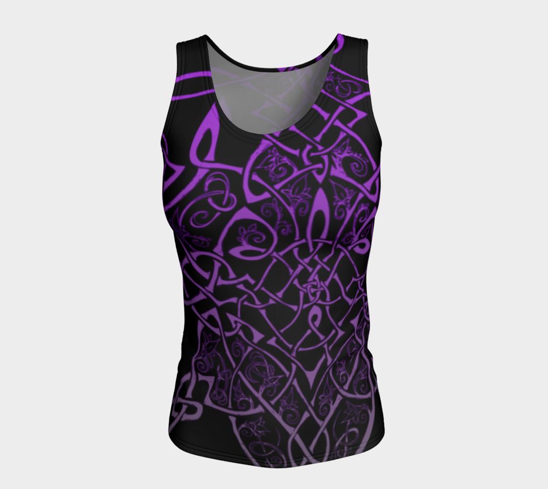 Aperçu de Wild Celtic Branches, Asymmetrical, Purple Ombre, Celtic Knot, Fitted Tank Top #5
