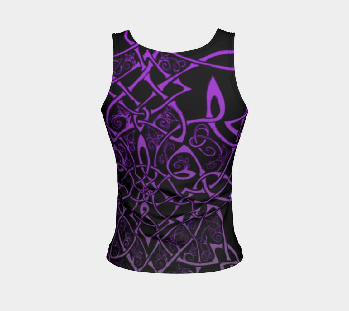 Aperçu de Wild Celtic Branches, Asymmetrical, Purple Ombre, Celtic Knot, Fitted Tank Top #2