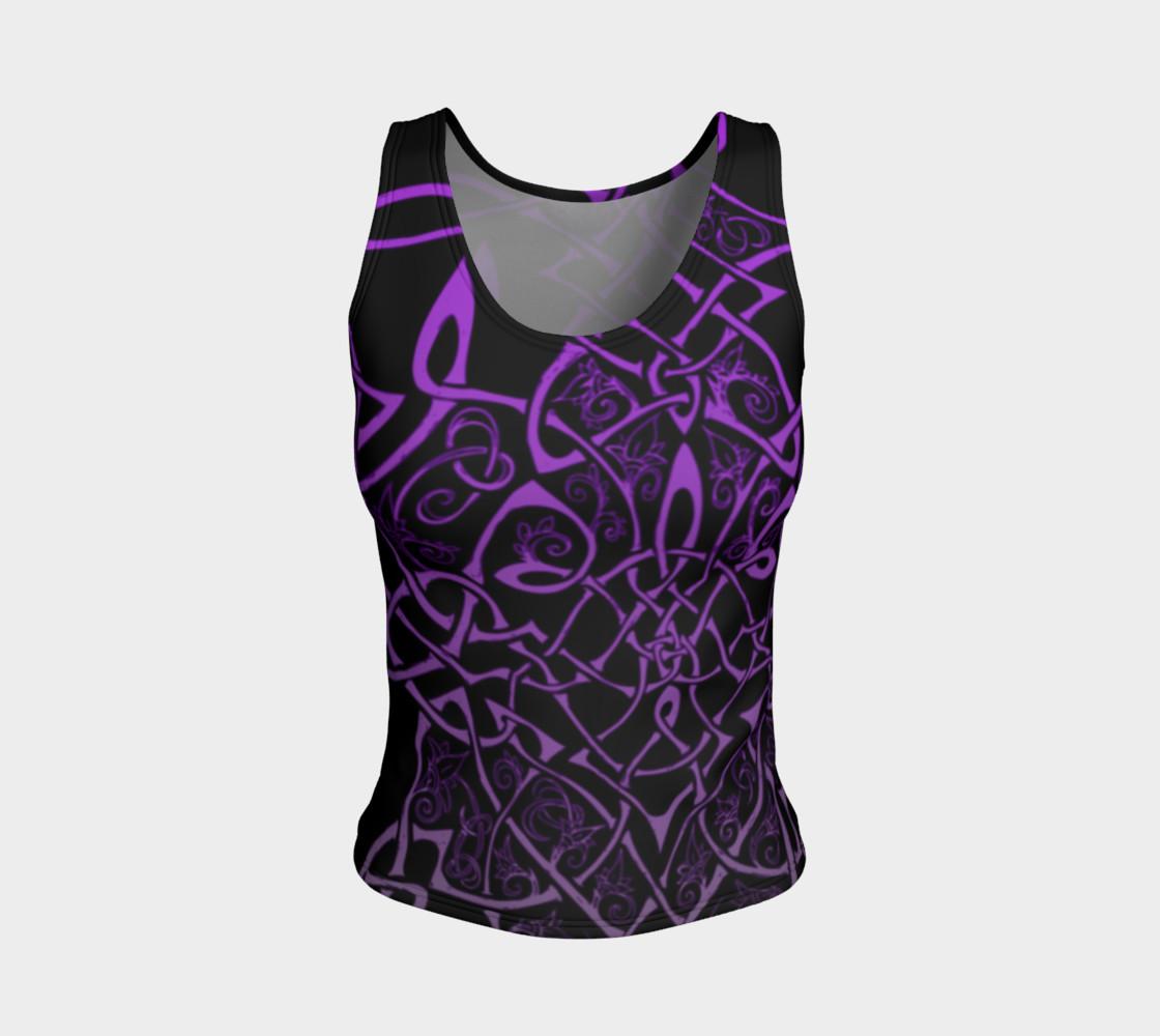 Aperçu de Wild Celtic Branches, Asymmetrical, Purple Ombre, Celtic Knot, Fitted Tank Top #1