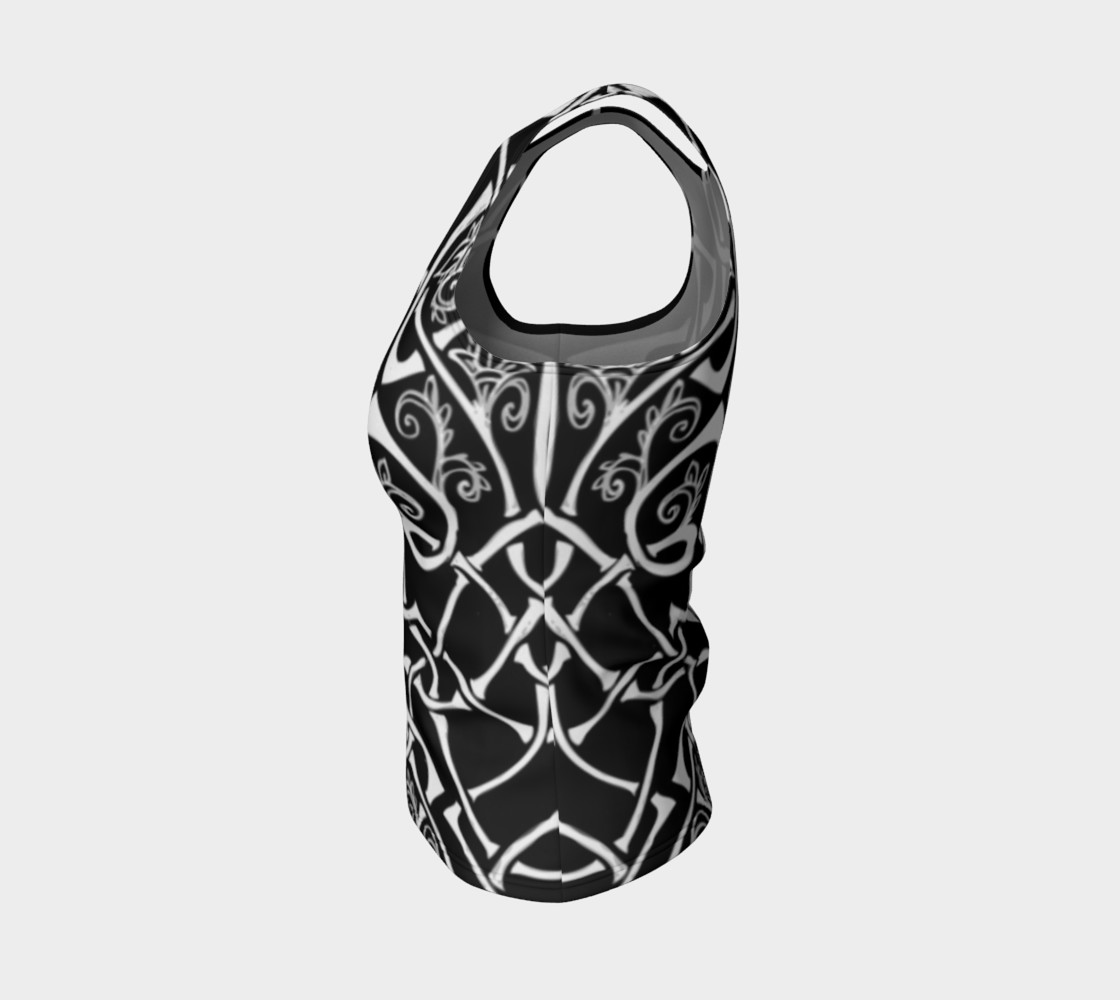 Aperçu de Wild Celtic Branches, Black and White, Celtic Knot, Fitted Tank Top #3