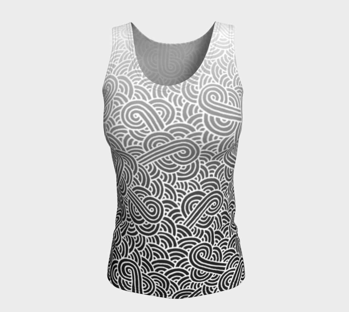 Ombre black and white swirls doodles Fitted Tank Top preview #5