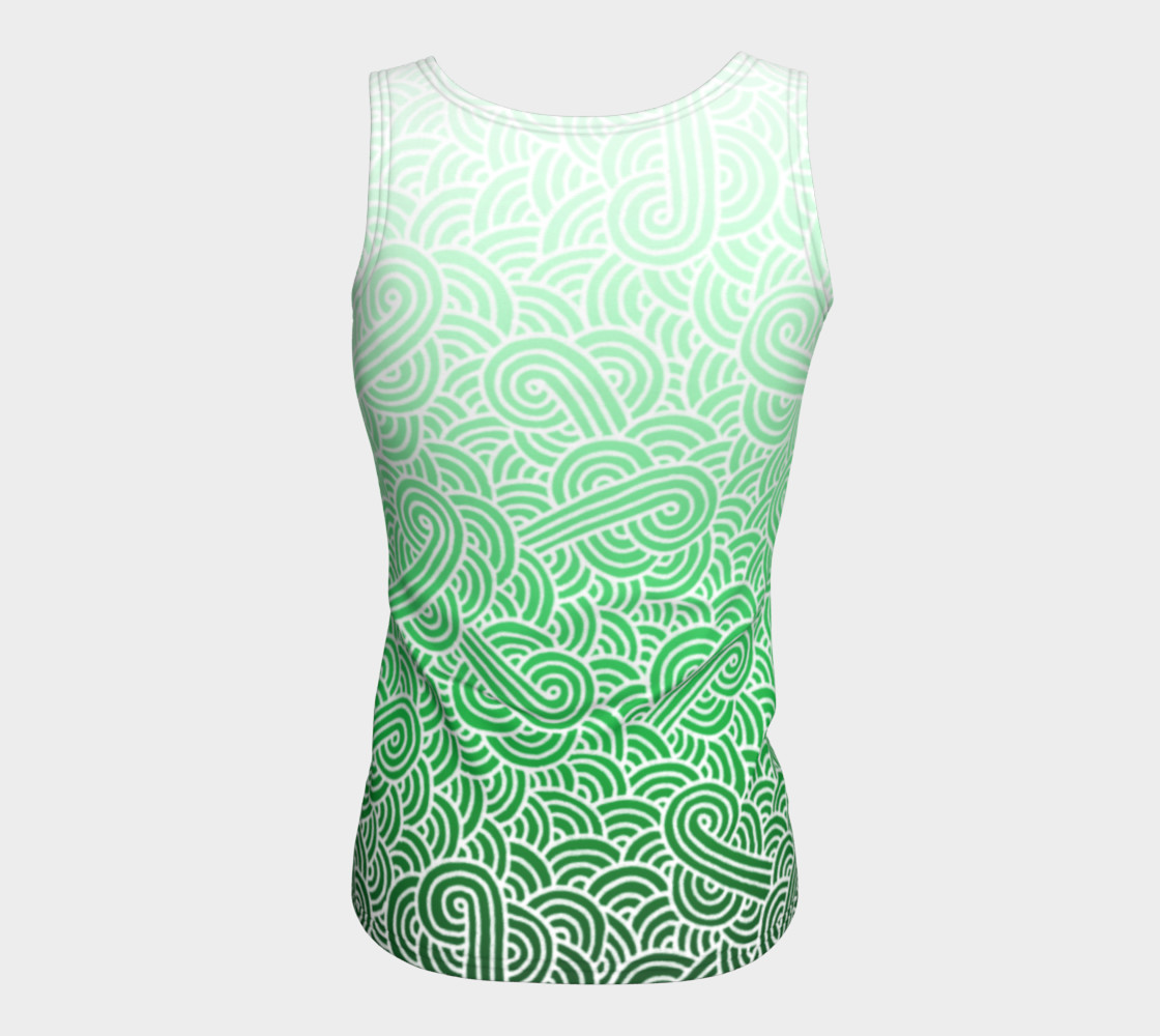Ombre green and white swirls doodles Fitted Tank Top preview #6
