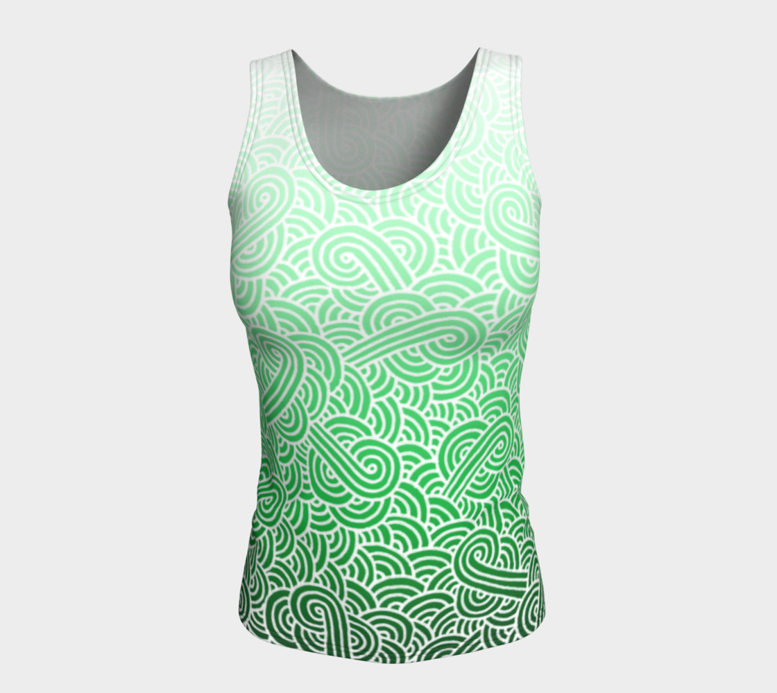 Ombre green and white swirls doodles Fitted Tank Top preview #5