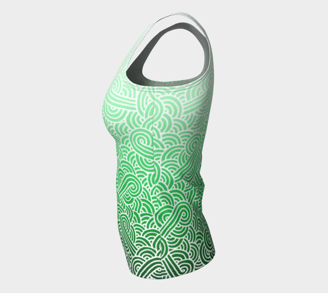 Ombre green and white swirls doodles Fitted Tank Top preview #7