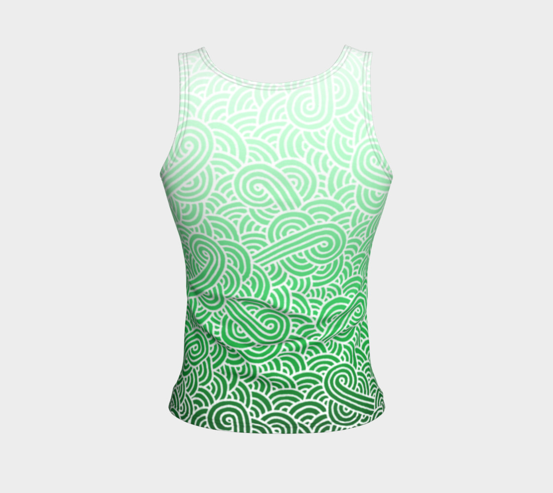 Ombre green and white swirls doodles Fitted Tank Top preview #2