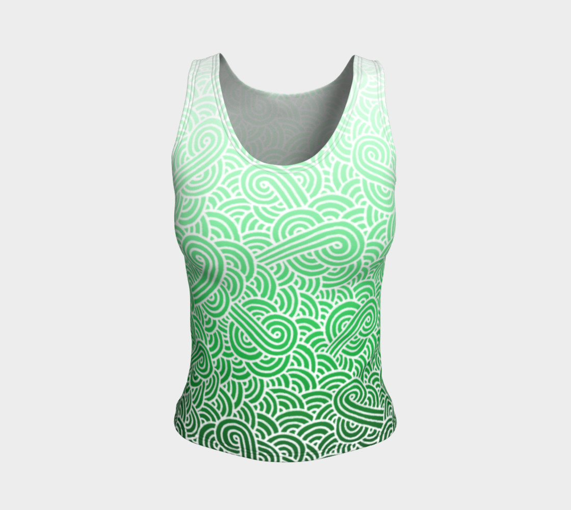 Ombre green and white swirls doodles Fitted Tank Top preview #1