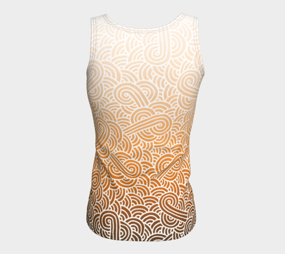 Aperçu de Ombre orange and white swirls doodles Fitted Tank Top #6