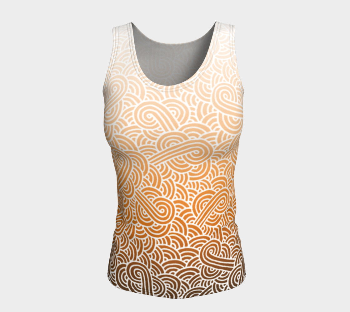 Aperçu de Ombre orange and white swirls doodles Fitted Tank Top #5