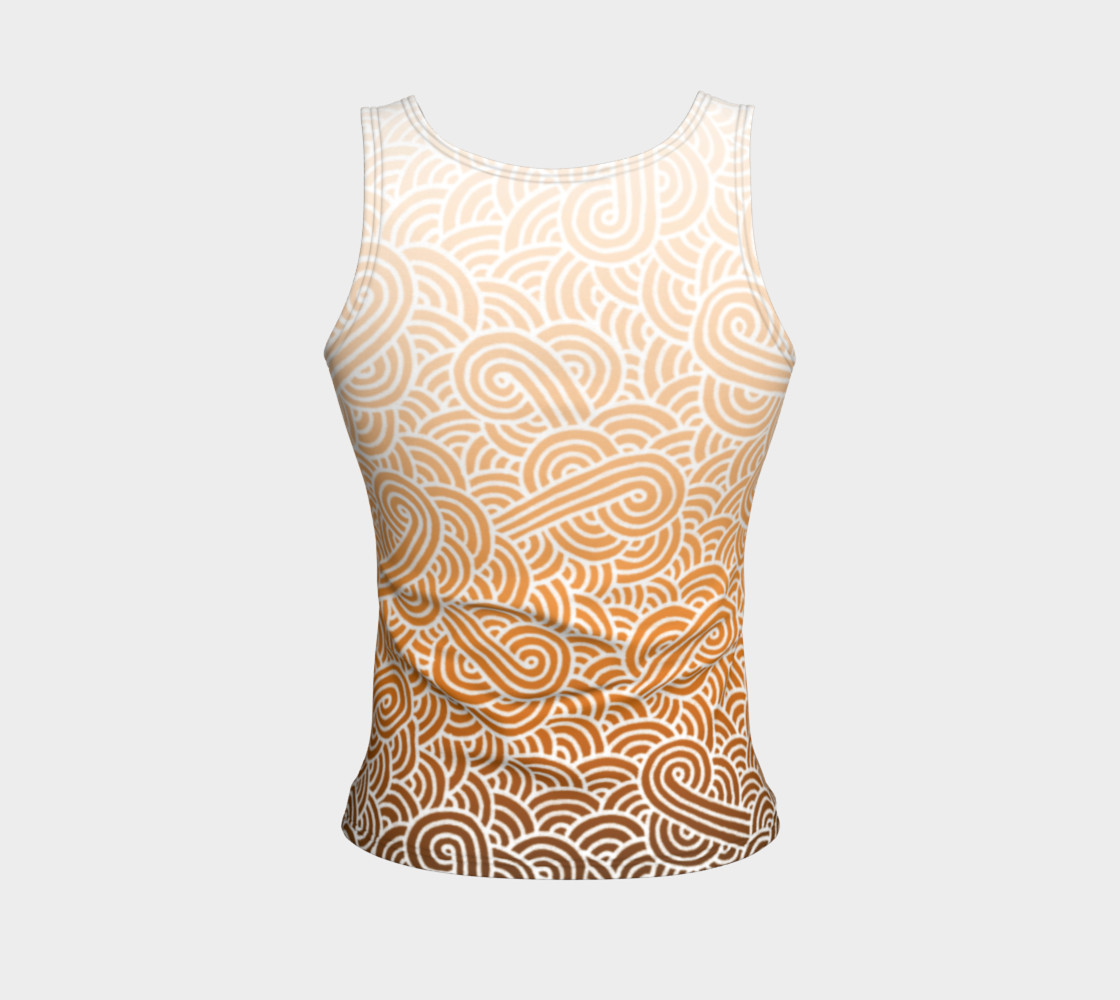 Aperçu de Ombre orange and white swirls doodles Fitted Tank Top #2