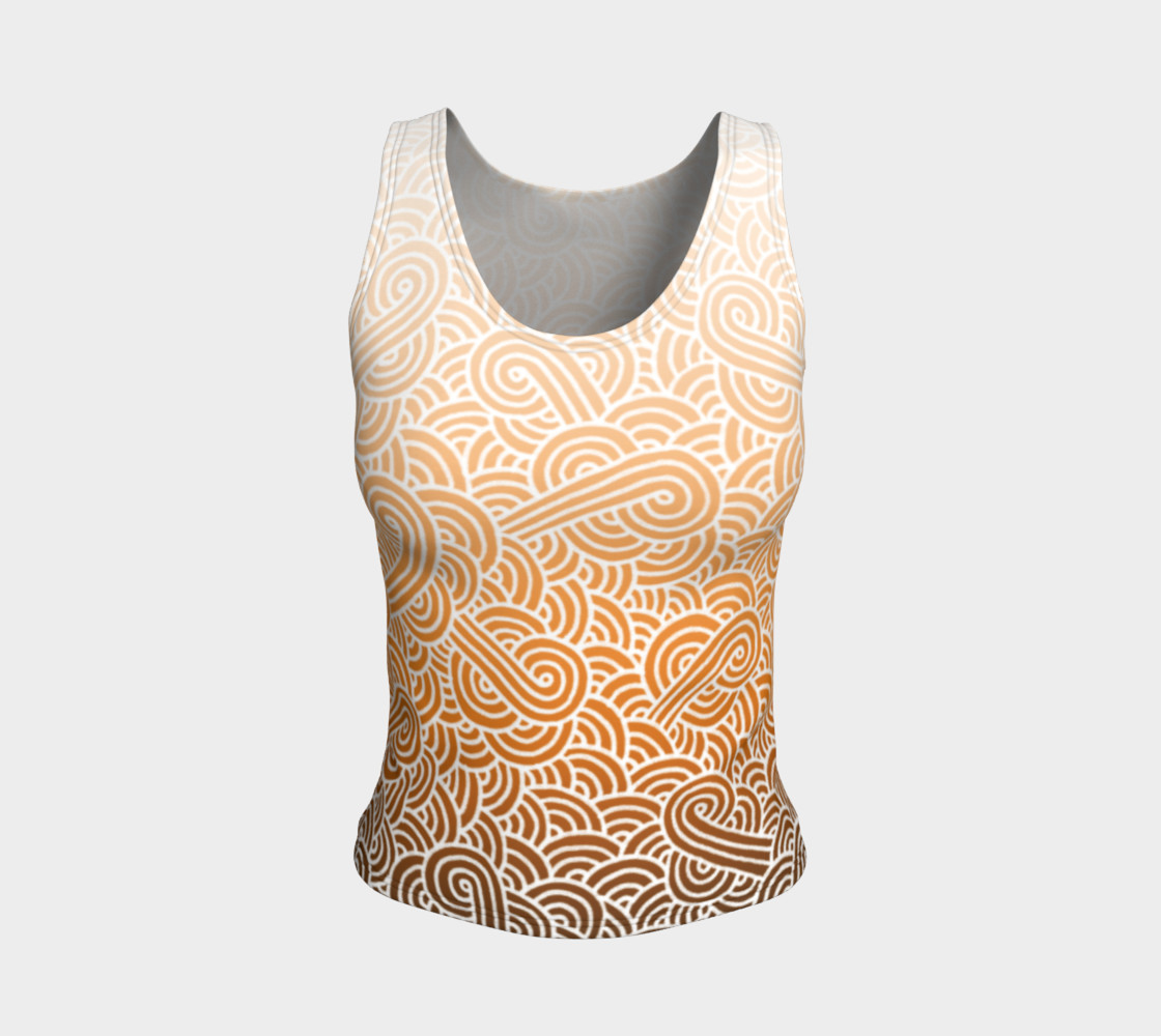Aperçu de Ombre orange and white swirls doodles Fitted Tank Top #1