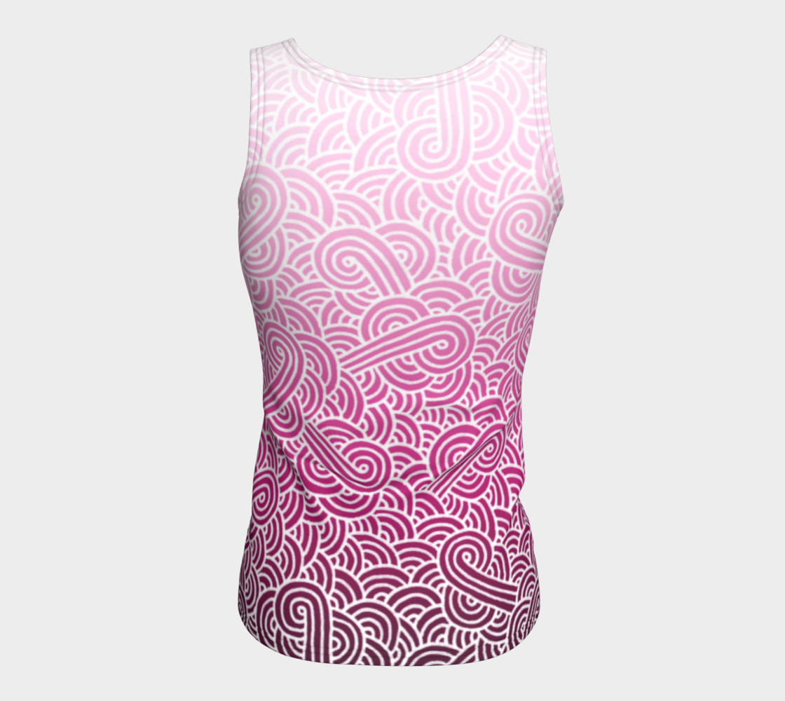 Ombre pink and white swirls doodles Fitted Tank Top preview #6