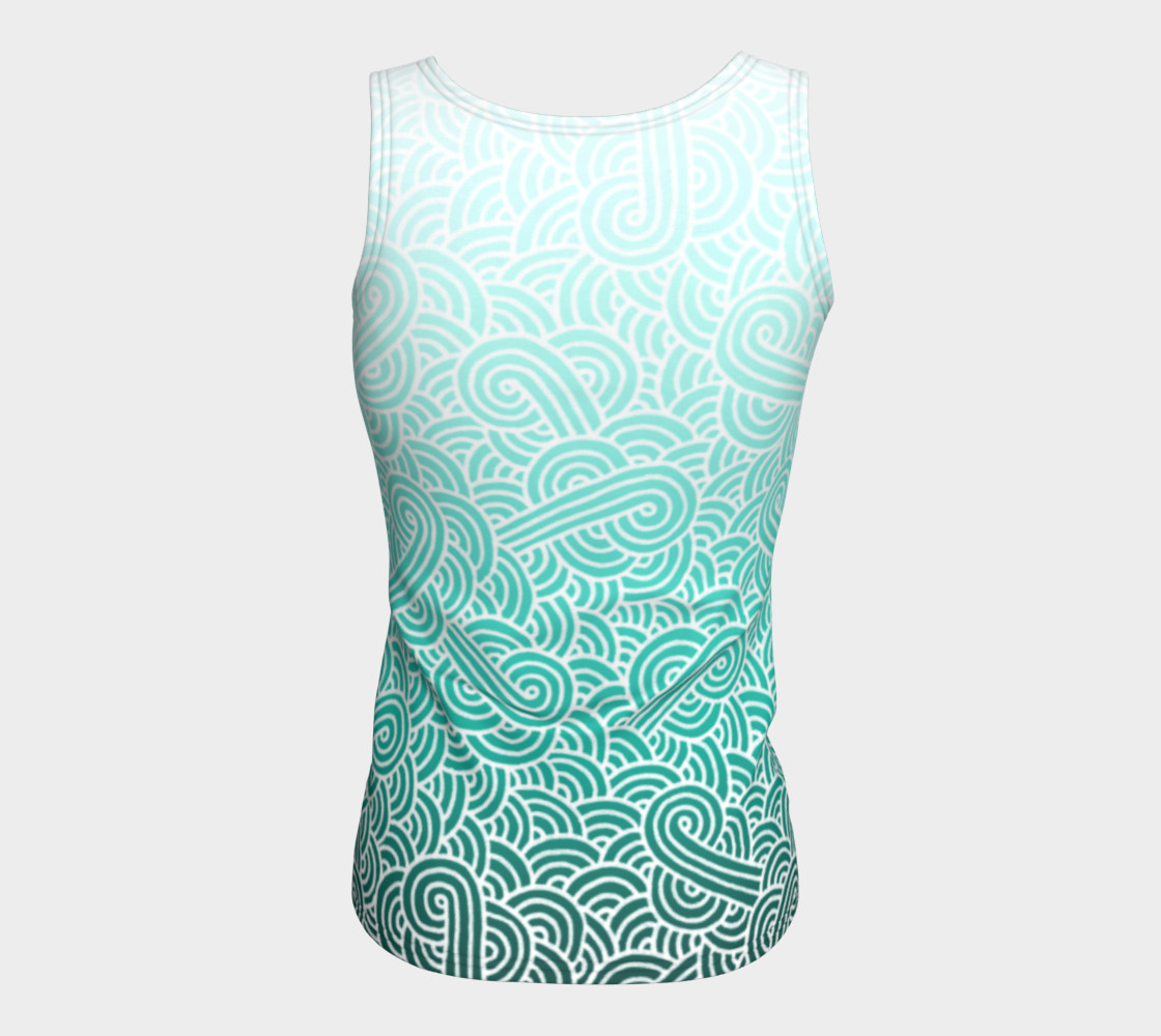 Ombre turquoise blue and white swirls doodles Fitted Tank Top preview #6