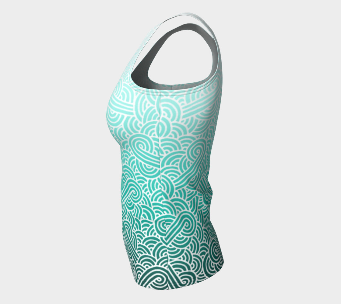 Ombre turquoise blue and white swirls doodles Fitted Tank Top preview #7