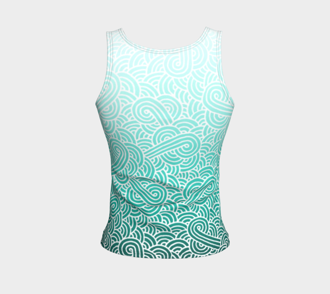 Ombre turquoise blue and white swirls doodles Fitted Tank Top preview #2