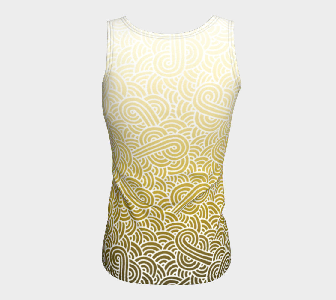 Ombre yellow and white swirls doodles Fitted Tank Top preview #6