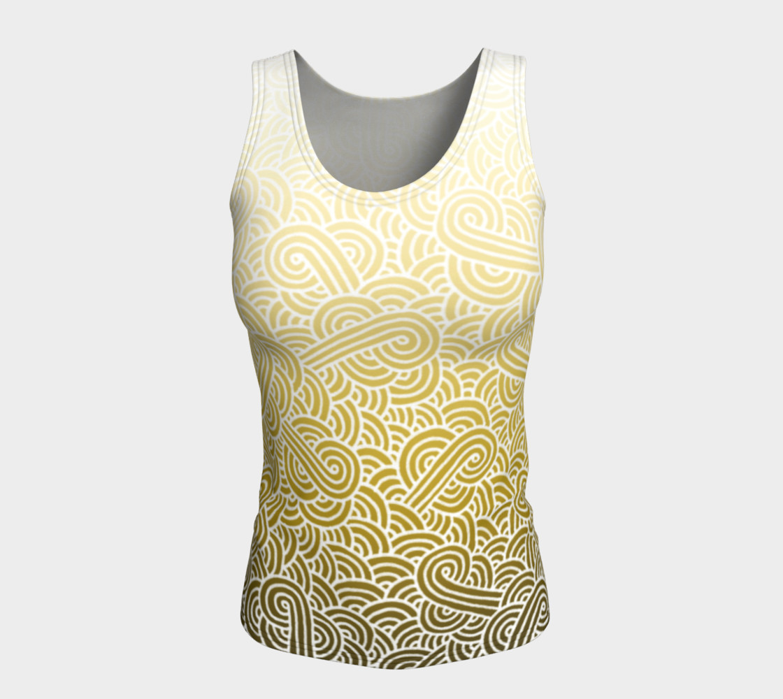 Ombre yellow and white swirls doodles Fitted Tank Top preview #5
